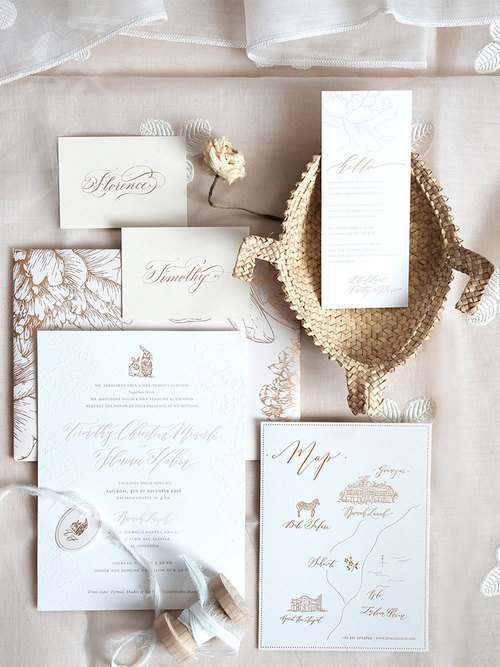 Peony and Lapin Invitation Suite