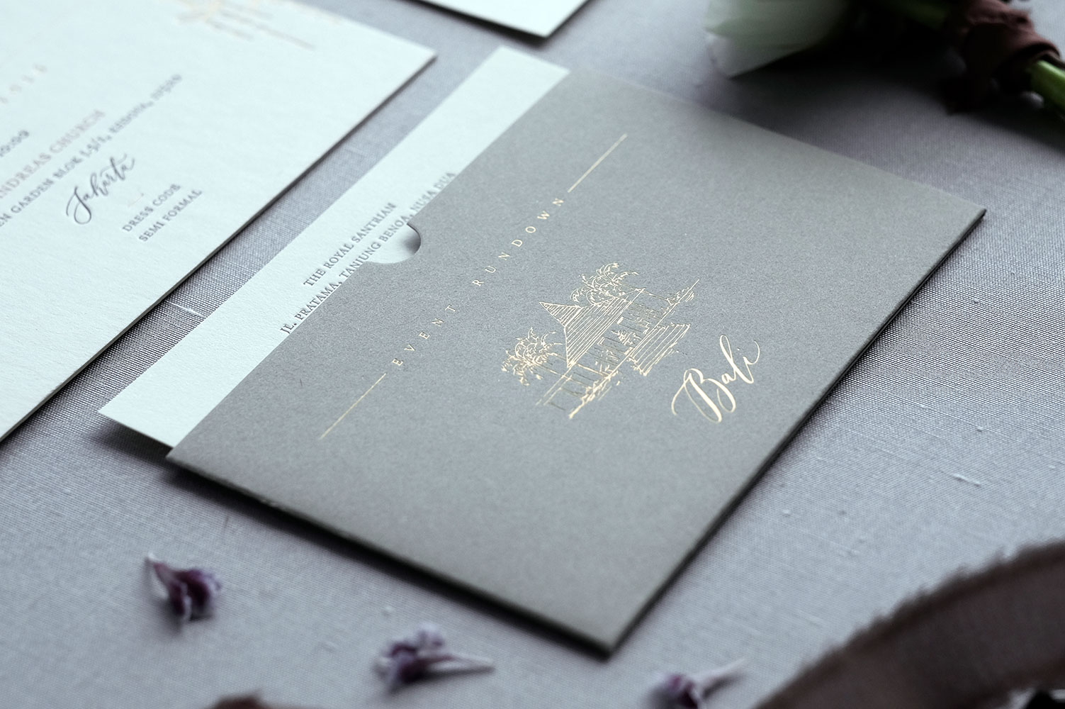Burgundy Chandelier Invitation Suite — Veronica Halim Calligraphy
